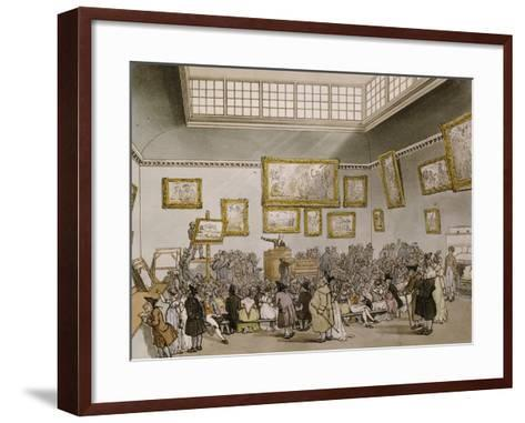 Colored Aquatint of Christies Auction Room, London, 1808--Framed Art Print