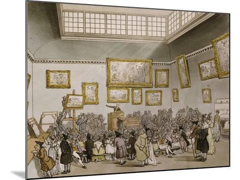 Colored Aquatint of Christies Auction Room, London, 1808--Mounted Giclee Print