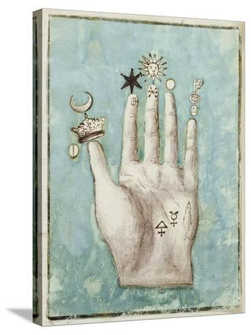 A Hand with Alchemical Symbols Against the Fingers, First Half of the 17th Century--Stretched Canvas Print