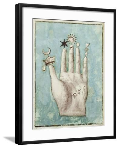 A Hand with Alchemical Symbols Against the Fingers, First Half of the 17th Century--Framed Art Print