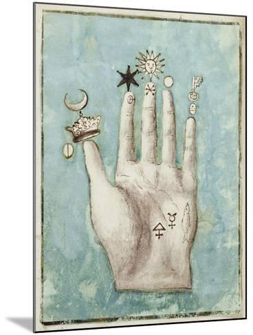 A Hand with Alchemical Symbols Against the Fingers, First Half of the 17th Century--Mounted Giclee Print