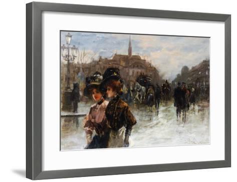 A Street Scene with Elegant Ladies, Paris-Max Lugi-Framed Art Print