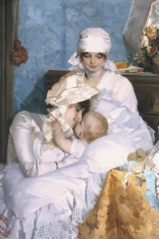 Motherly Love, 1883-Ferenc Innocent-Stretched Canvas Print