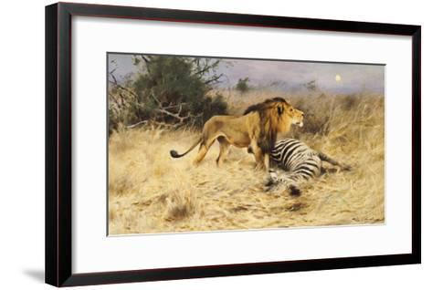 A Lion with His Prey-Wilhelm Kuhnert-Framed Art Print