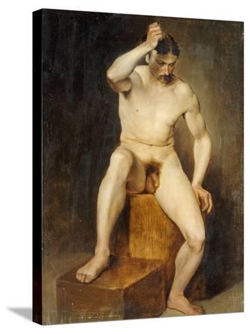 A Seated Male Nude-Hans Von Staschiripka Canon-Stretched Canvas Print