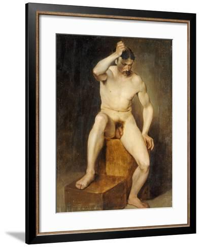 A Seated Male Nude-Hans Von Staschiripka Canon-Framed Art Print