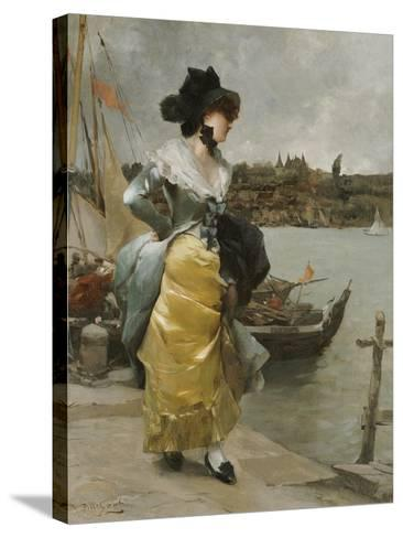 At the Quayside-Emile-auguste Pinchart-Stretched Canvas Print
