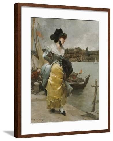 At the Quayside-Emile-auguste Pinchart-Framed Art Print