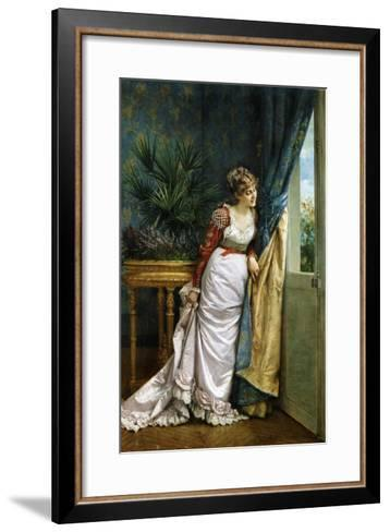 Awaiting the Visitor, 1878-Auguste Toulmouche-Framed Art Print