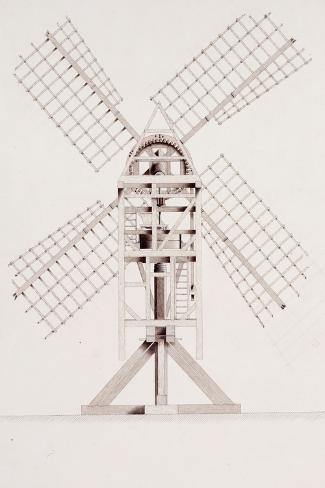 Drawings for Windmills, Dated 1814-17-John Farey, Jr-Stretched Canvas Print