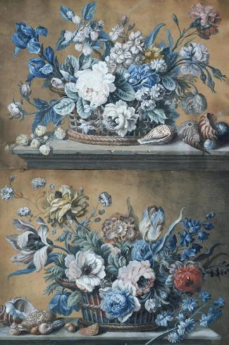 A Basket of Dahlias, Delphiniums, Peony, Primula, Tulips and Other Flowers on a Table-Peter Mazell-Stretched Canvas Print