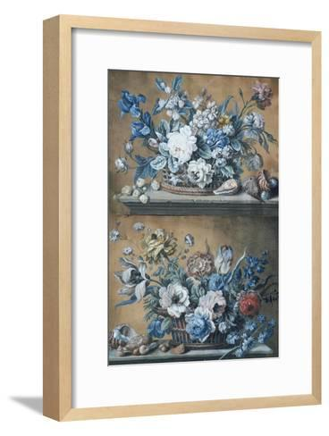 A Basket of Dahlias, Delphiniums, Peony, Primula, Tulips and Other Flowers on a Table-Peter Mazell-Framed Art Print