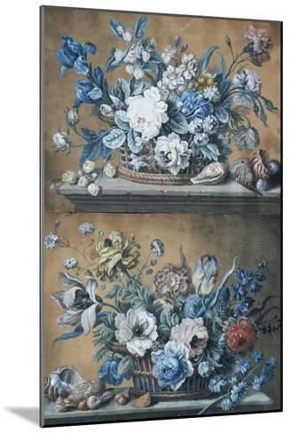 A Basket of Dahlias, Delphiniums, Peony, Primula, Tulips and Other Flowers on a Table-Peter Mazell-Mounted Giclee Print