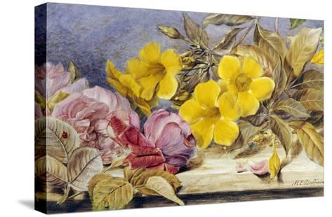 A Still Life of Roses and Other Flowers on a Ledge-Mary Elizabeth Duffield-Stretched Canvas Print