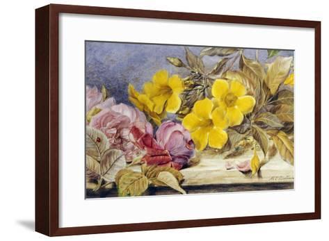 A Still Life of Roses and Other Flowers on a Ledge-Mary Elizabeth Duffield-Framed Art Print