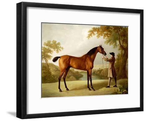Tristram Shandy, a Bay Racehorse Held by a Groom in an Extensive Landscape, circa 1760-George Stubbs-Framed Art Print