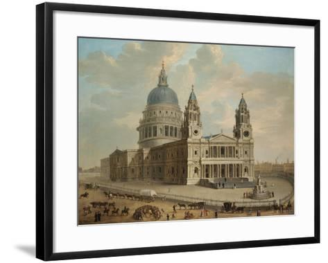 View of St. Paul's Cathedral with Figures in the Foreground, English School circa 1725--Framed Art Print