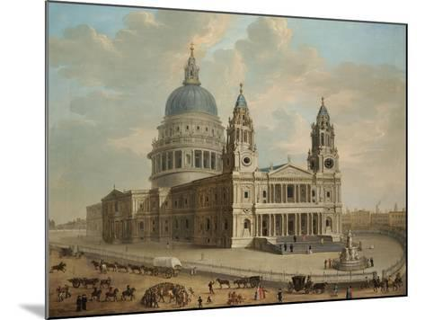 View of St. Paul's Cathedral with Figures in the Foreground, English School circa 1725--Mounted Giclee Print