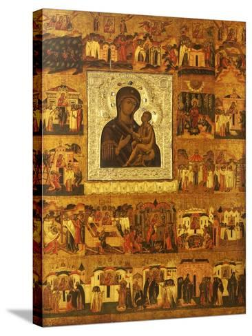 Icon of the Mother of God Tikhvinskaia, Central Russia, First Half of the 17th Century--Stretched Canvas Print