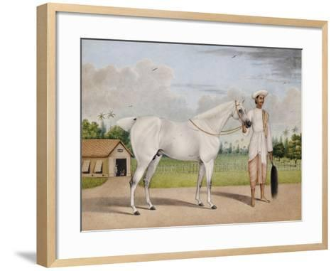 A Small White Stallion Standing with a Groom Holding a Chauri-Shaikh Muhammad Amir Of Karraya-Framed Art Print
