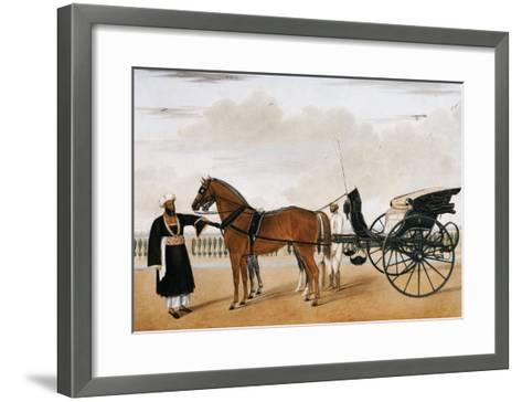 A Nawab Standing by His Horse Drawn Gharry or Carriage Attended by His Groom Bearing a Chauri-Shaikh Muhammad Amir Of Karraya-Framed Art Print
