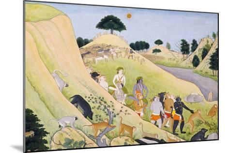 Illustration to the Ramayana Rama and Lakshmana Being Carried by Monkey Princes, circa 1800--Mounted Giclee Print