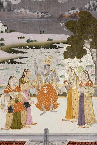 Krishna with the Gopis, Rajesthan, Possibly Bikaner, circa 1760--Stretched Canvas Print