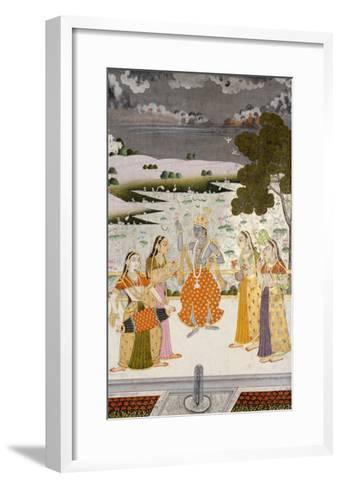 Krishna with the Gopis, Rajesthan, Possibly Bikaner, circa 1760--Framed Art Print
