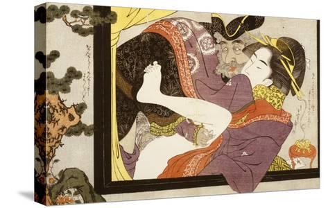 Erotic Scene Eishi School--Stretched Canvas Print