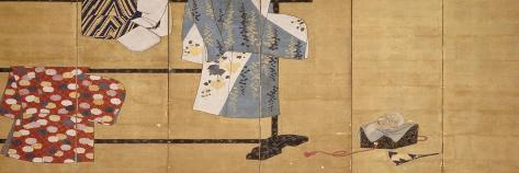 Six-Leaf Screen, Painted in Sumi, Whose Sleeves Motif with Three Robes Hung on a Rack, 18th Century--Stretched Canvas Print