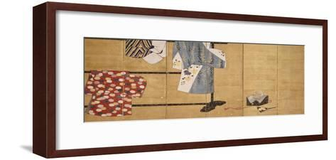 Six-Leaf Screen, Painted in Sumi, Whose Sleeves Motif with Three Robes Hung on a Rack, 18th Century--Framed Art Print