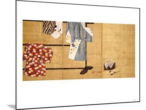 Six-Leaf Screen, Painted in Sumi, Whose Sleeves Motif with Three Robes Hung on a Rack, 18th Century--Mounted Giclee Print
