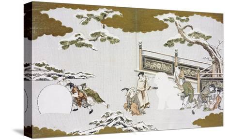 Children Making a Snow Shishi and Rolling a Snowball-Kitagawa Utamaro-Stretched Canvas Print