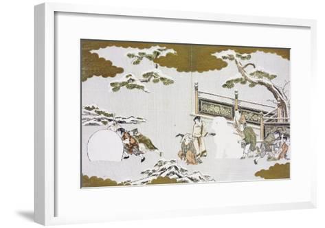 Children Making a Snow Shishi and Rolling a Snowball-Kitagawa Utamaro-Framed Art Print