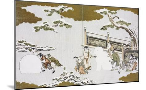 Children Making a Snow Shishi and Rolling a Snowball-Kitagawa Utamaro-Mounted Giclee Print