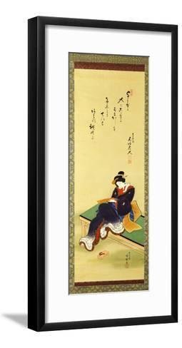 A Woman Seated on a Bench Holding a Poem Card, circa 1855-Utagawa Kunisada-Framed Art Print