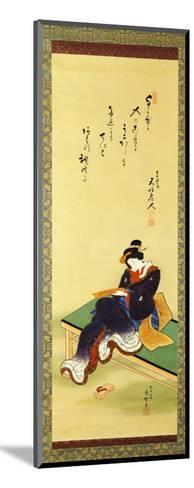 A Woman Seated on a Bench Holding a Poem Card, circa 1855-Utagawa Kunisada-Mounted Giclee Print