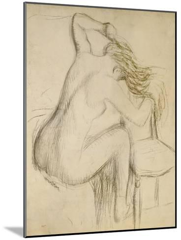 A Seated Woman Styling Her Hair-Edgar Degas-Mounted Giclee Print