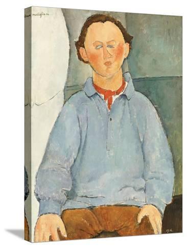 Portrait of Sculptor Oscar Miestchanioff, circa 1916-Amedeo Modigliani-Stretched Canvas Print