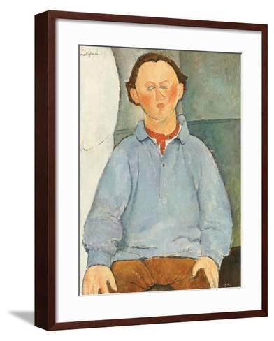 Portrait of Sculptor Oscar Miestchanioff, circa 1916-Amedeo Modigliani-Framed Art Print