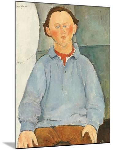 Portrait of Sculptor Oscar Miestchanioff, circa 1916-Amedeo Modigliani-Mounted Giclee Print