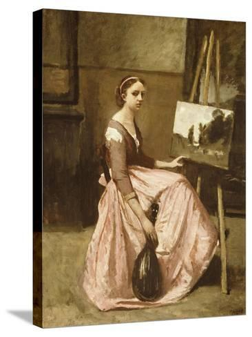 Corot's Studio (Young Girl in Pink Dress Sitting by an Easel with a Mandolin)-Jean-Baptiste-Camille Corot-Stretched Canvas Print