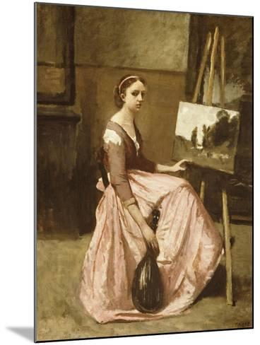 Corot's Studio (Young Girl in Pink Dress Sitting by an Easel with a Mandolin)-Jean-Baptiste-Camille Corot-Mounted Giclee Print