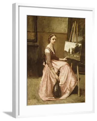 Corot's Studio (Young Girl in Pink Dress Sitting by an Easel with a Mandolin)-Jean-Baptiste-Camille Corot-Framed Art Print