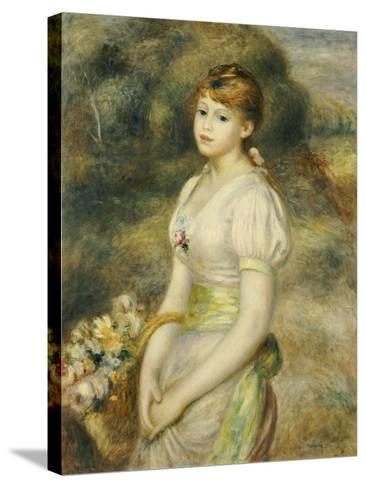 Young Girl with a Basket of Flowers-Pierre-Auguste Renoir-Stretched Canvas Print