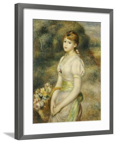 Young Girl with a Basket of Flowers-Pierre-Auguste Renoir-Framed Art Print