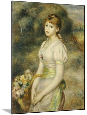 Young Girl with a Basket of Flowers-Pierre-Auguste Renoir-Mounted Giclee Print