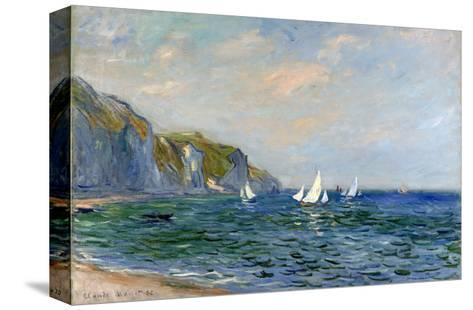 Cliffs and Sailboats at Pourville-Claude Monet-Stretched Canvas Print