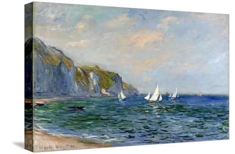 Cliffs and Sailboats at Pourville-Claude Monet-Stretched Canvas Print