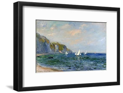 Cliffs and Sailboats at Pourville-Claude Monet-Framed Art Print